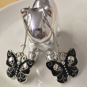 Death's Head moth skull earrings, silver alloy NWT